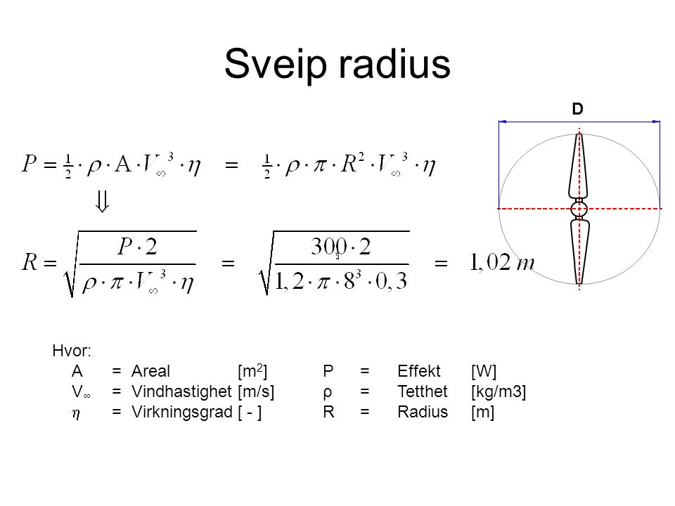 Sveip radius D Hvor: A = Areal [m2] V∞ = Vindhastighet [m/s]